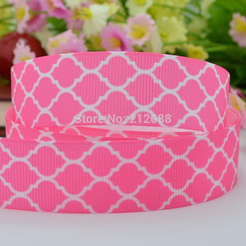 "Free Shipping 7/8"" 22mm Easter Ribbon Pink Quatrefoil Printed Grosgrain Ribbon for Making Hairbows Scrapbooking Decorating Dress(China (Mainland))"