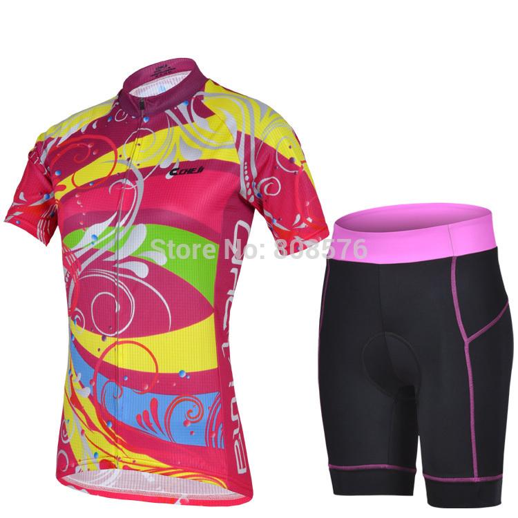 Colorido serviço de passeio cheji feminina de manga curta definir a primavera eo verão de yoga de bicicleta de montanha esportes bicicleta(China (Mainland))