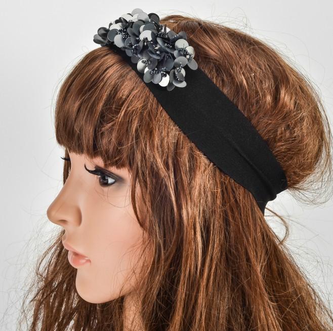 Wholesale retail charming Fshion sequin decore handmade romantic flower Elastic headband hari accessories for adult(China (Mainland))