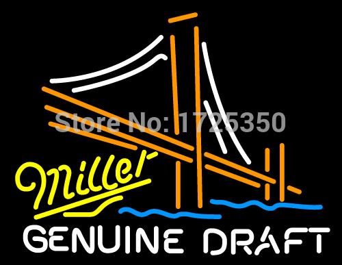 "Dr. Neon awesome best custom Beer Sign Miller Genuine Draft Golden Gate 3 Bridge Neon Logo Bar Beer Sign Pub Light 24""x20""(China (Mainland))"