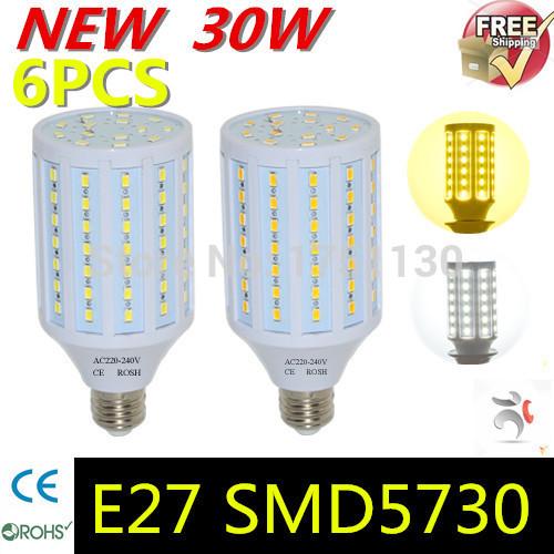 6pcs/lotsfree shopping 30W LED lamps 5730 SMD E27 Corn Bulb Pendant lights AC 220V 240V Chandelier LED Ceiling light(China (Mainland))