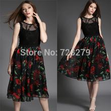 Fashion Dress Party Dresses 2015 Spring and summer Fashion elegant lace Women Dress 3D Print slim Medium-long one-piece dress