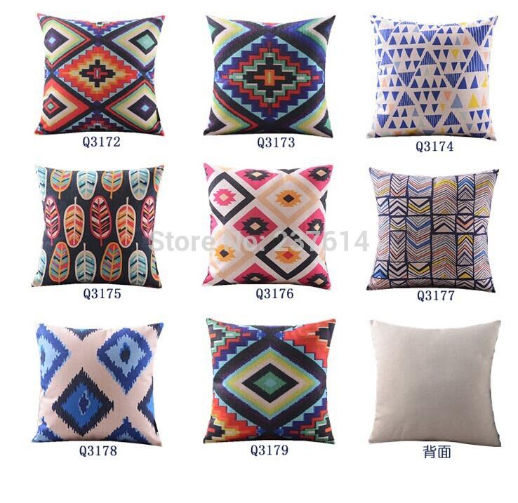 Free Shipping Nordic Mash Burlap Cushion Cover Geometric Fashion Pillow Home Decor Ethnic Style Vintage Cushion Cover(China (Mainland))