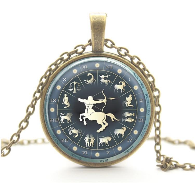 2015 Hot Zodiac Necklace 12 Constellation Capricorn Gemini Pendant Art Cabochon Vintage Necklace Statement Necklace Woman Man(China (Mainland))