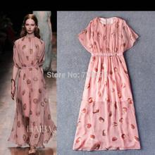 High Quality Fashion Dress Long DRESS 2015 Women's Boutique Elegant 3D Print O-Neck slim Party Dresses Plus Size L XL