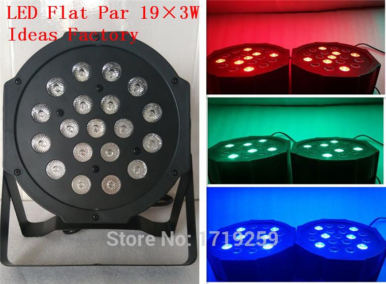 6pcs/lot 2015 Hot New Flat LED Par RGB Wash Light 19x3W 3/7 Channels, Music control, dmx, auto run, strobe, dimmer(China (Mainland))