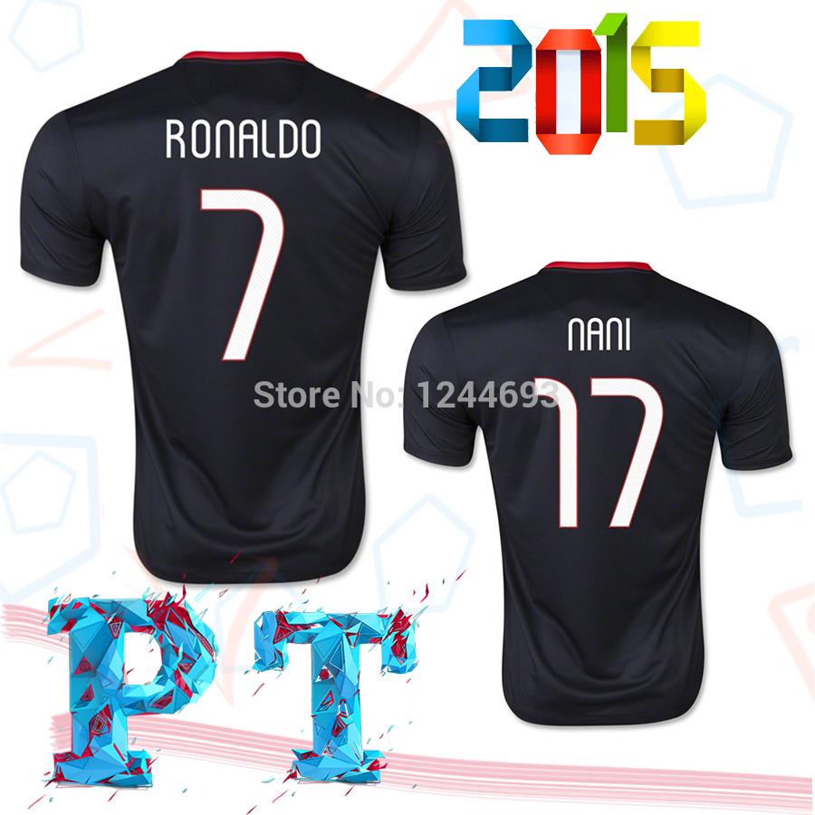 New 2015 2016 EuroCup Best Thailand Quality PT Black Away Portuguese soccer Jersey RONALDO J.MOUTINHO F.COENTRAO football Shirt(China (Mainland))