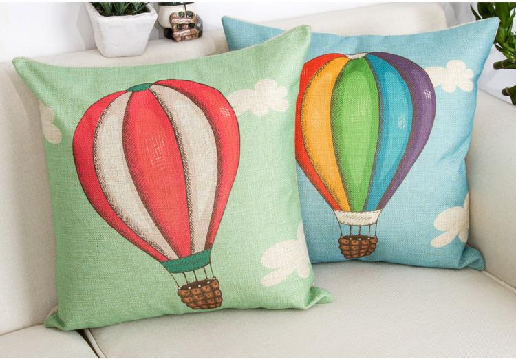 4 pçs/set textil 45 * 45 cm decro balão dos desenhos animados imagem capa de almofada de algodão e linho materail(China (Mainland))