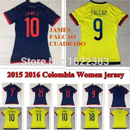Thailand Colombia women jersey 2015 2016 FALCAO JAMES RODRIGUEZ Colombia jersey women 15 16 yellow girls futbol soccer shirt(China (Mainland))