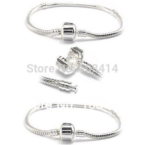 2PCS Lot Silver Plated Snake Chain Bracelet with Barrel Clasp Fits Classic Biagi Troll Chamilia Pandora