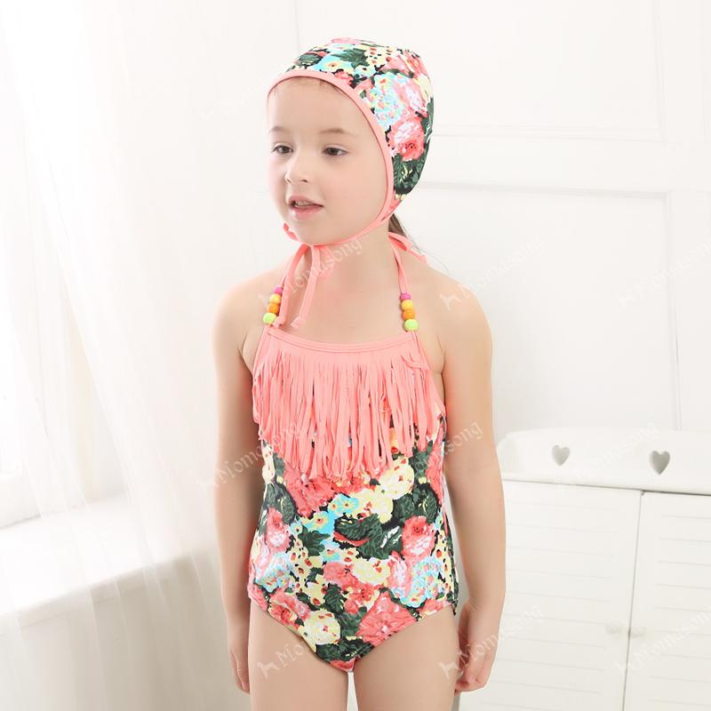Girl swimsuit paragraph girl Toddler split swimwear swimming cap colorful hot-selling(China (Mainland))