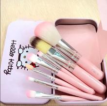Free shipping Hello Kitty 7 Pcs Mini Makeup brush Set cosmetics kit de pinceis de maquiagem make up brush Kit with Metal box