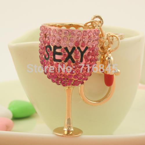 New Glass model Pendant Key Chain Ring Fashion Rhinestone Trinkets Metal Keychain keyring for Women Bag Charms Jewelry PWK0328(China (Mainland))