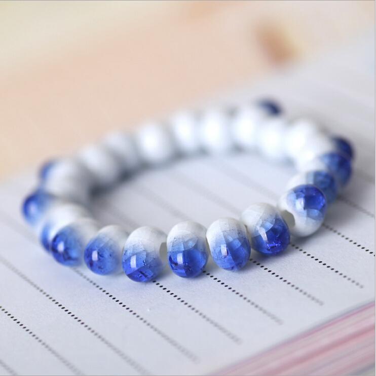 2015 New!! Hot!!! Jingdezhen Ceramic handmade Bracelet National wind blue and white porcelain jewelry YX-B47(China (Mainland))