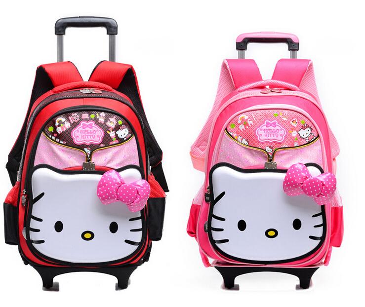 Kawaii Pink Hot Pink Bowknot Hello kitty Princess 7~12 Years Canvas Nylon Trolley Wheeled Backpack School Bag(China (Mainland))