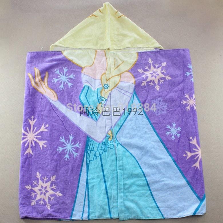 2015 Kids Cartoon Hooded Beach Towel 50*110cm Towels Children Shower Cover Cartoon Beach Towels Olaf Elsa Anna Printing Design(China (Mainland))
