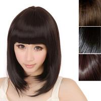 Delicate Newest Fashion Women Ladies Pro Salon Short Straight Full Bangs BOBO Hair Cosplay Wig Dark Brown/Light Brown/Black
