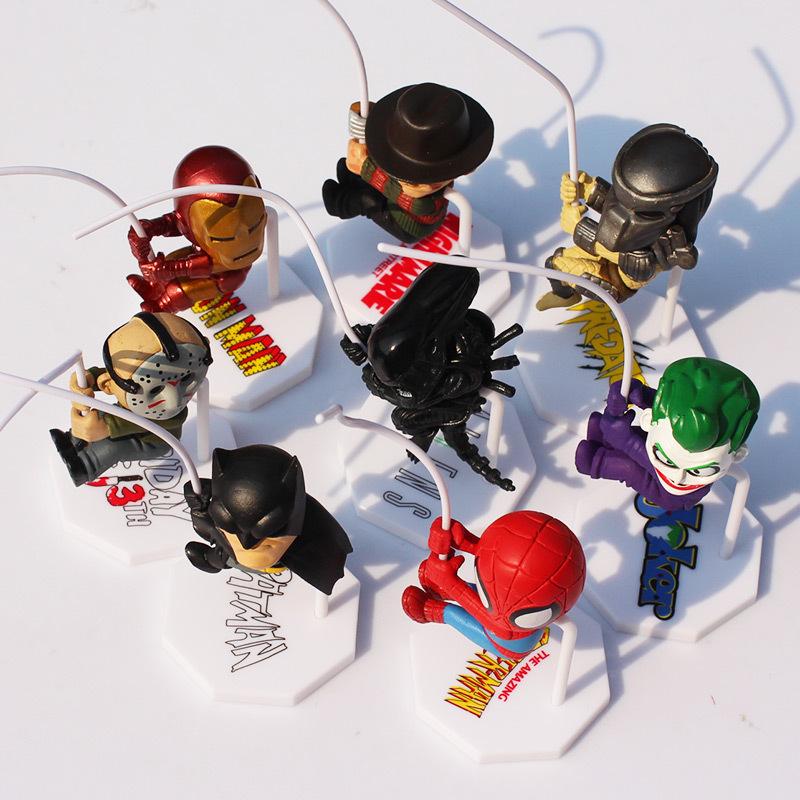 Superheroes Q Version Spider-man Batman Alien Joker Predators Freddy Jason PVC Action Figure Toys Superhero Figures Toy 8pcs/set(China (Mainland))