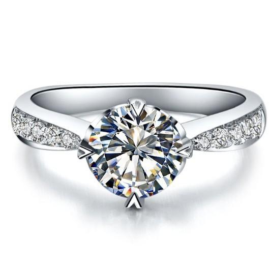 Wholesale Heart Marking Genuine 18K Gold Customize Jewelry 0.6CT Synthetic Diamond Engagement Ring Bride Jewelry White Gold 18K(China (Mainland))