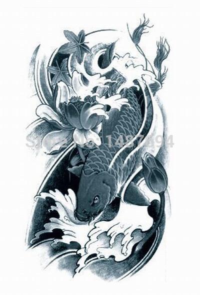 AX44 Arm Temporary Tattoo Fish VS Lotus VS Water waterproof Big size fake tatoo sticker art