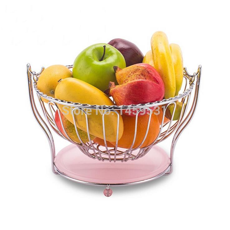 New Modern metal fruit plate Round swing fruit bowl with water stock tray Elegant metal fruit basket(China (Mainland))