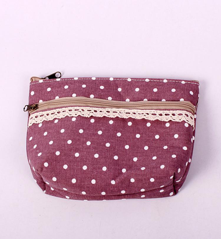 Factory direct zakka Polka Dot Cotton Lace double zipper cosmetic bag storage(China (Mainland))