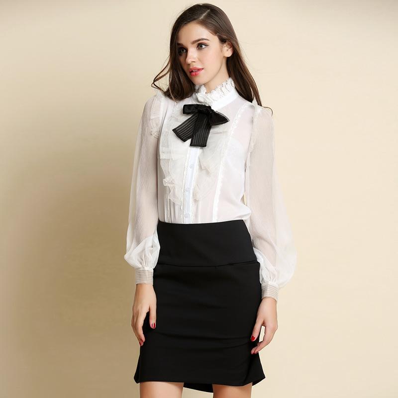 White Shirt Black Bow Womens   Is Shirt