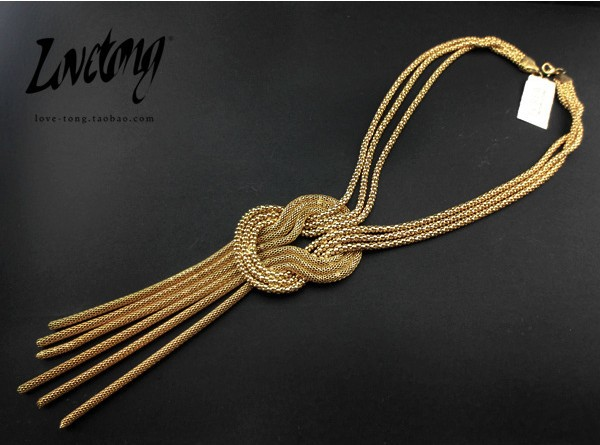 Europe star Street style retro luxury Golden bone wrapped in Snake alloy y-long fringe necklace CA901408(China (Mainland))