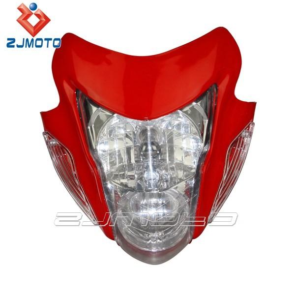 ZJMOTO Universal Motorbike Headlamp Supermoto Streetfighter Head Light Red Sonic Style Dirt Bike Headlight With Orange Indicator(China (Mainland))