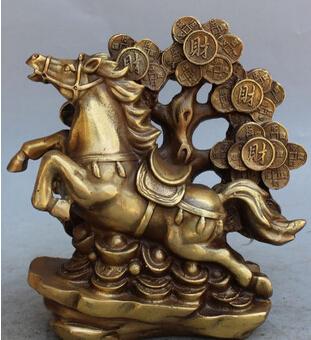 "free shipping 9"" Marked Chinese Bronze Wealth Money Zodiac Year Animal Horse Money tree Statue(China (Mainland))"