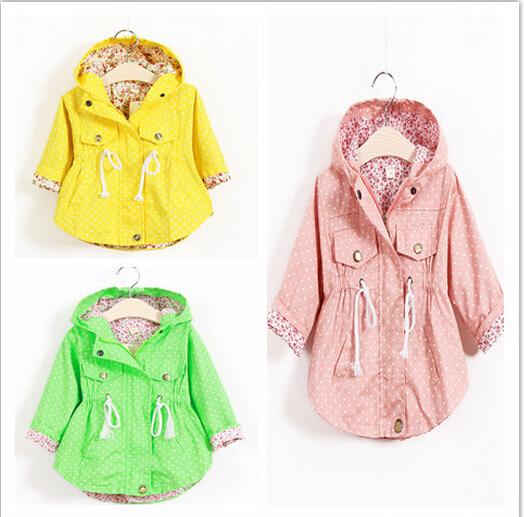 jacket coat new girls hot selling 2015 Spring Fall Fashion necklace wholesale hooded jacket printing peas(China (Mainland))