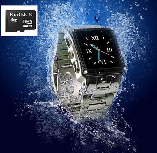 Stainless Steel Java Smart Watch Phone SIM Waterproof Wristwatch Phone Mp4 FM Radio GSM Bluetooth Smartwatch Mobile 8G Memory(China (Mainland))