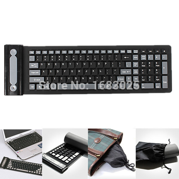 2.4Ghz Wireless Waterproof Dustproof Portable Black USB Mini Silicone Flexible Folding Roll Up soft Rubber Keyboard for Laptop(China (Mainland))