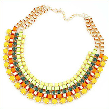 8 Colors New 2015 Fashion Jewlery European Geometric Lab Gemstone Collars Necklace & Pendant Choker Jewelry Bijoux Women N715
