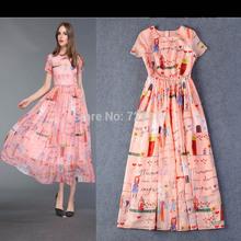 2015 Women Dress High Quality  Elegant Color Block 3D Print Short-sleeve slim Long Design Full Dresses Party Dresses Long L XL