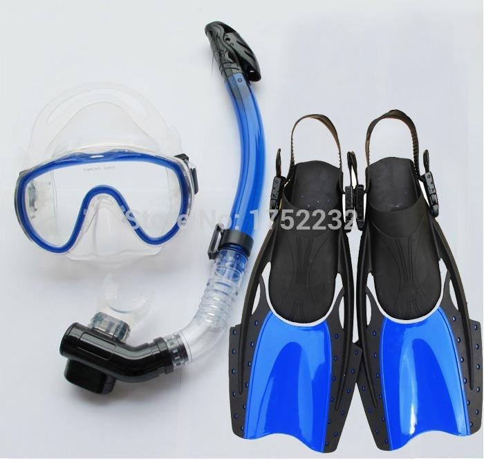 Adult Diving Kits Anti Fog Diving Mask +Flippers +Full Dry Breathing Tube Men's Waterproof Swim Glasses Swim Mask Goggles(China (Mainland))