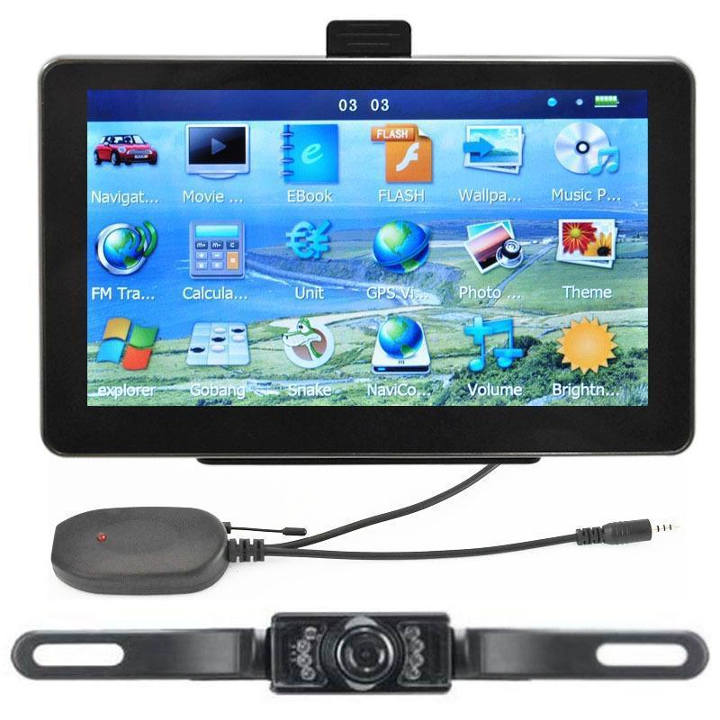 "7"" Car GPS Navigation + Wireless Reverse Camera Bluetooth AV-IN New Map 4GB POI(China (Mainland))"