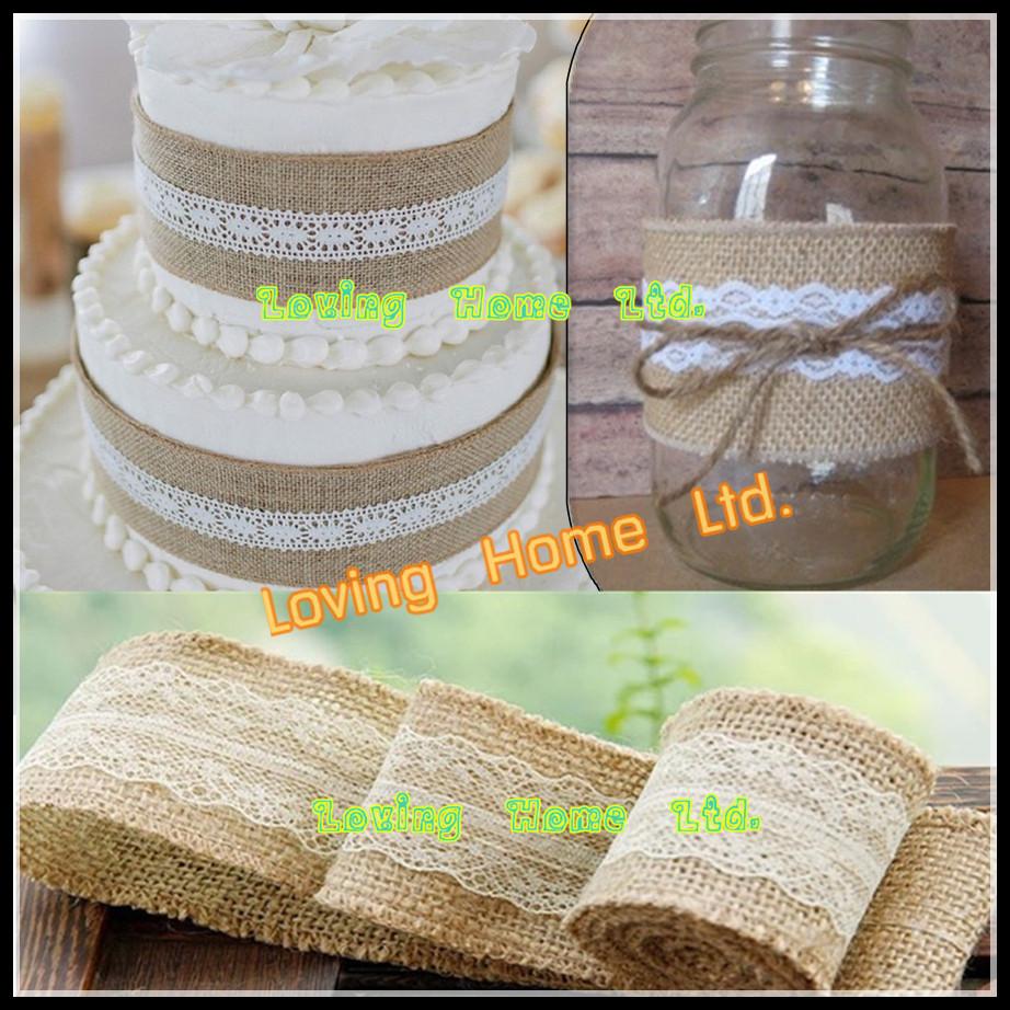 "5M 1.96""/50mm Width Natural Wreath Jute Burlap Hessian Ribbon Lace Trim Tape Rustic For Wedding Cake Decor Craft Gift Wrap(China (Mainland))"