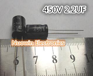 Free shipping 100pcs 2.2UF 450V Electrolytic Capacitor 450V 2.2UF Aluminum Electrolytic Capacitor 8X12mm(China (Mainland))