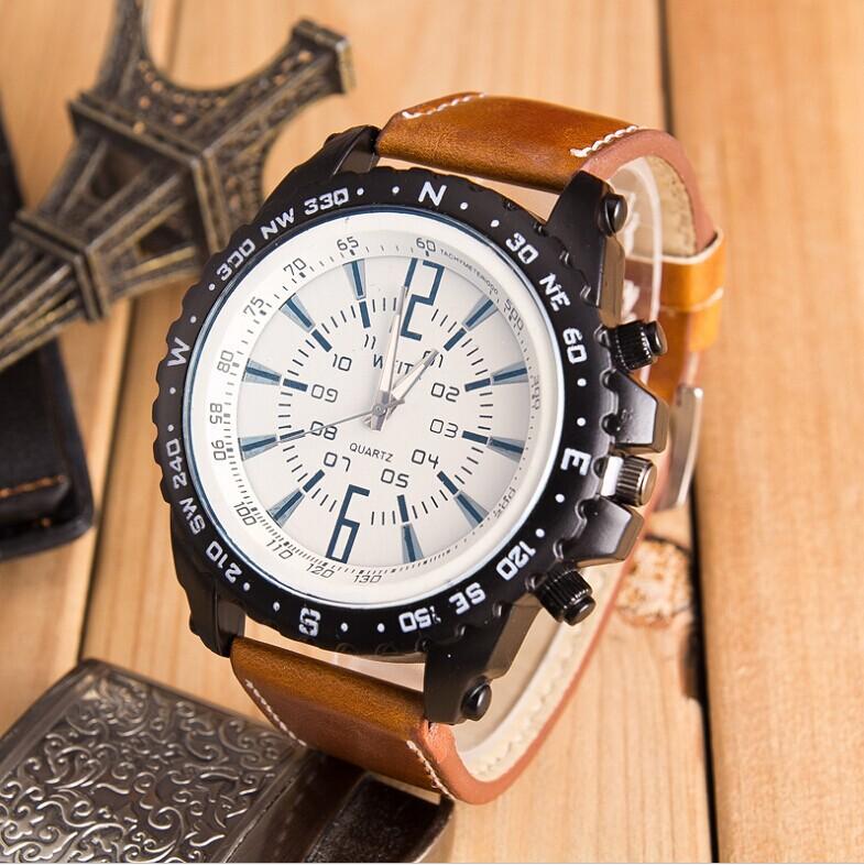 Великобритания стиль большой циферблат кварцевые спортивные часы мужчины люксовый бренд бизнес часы изменение цвета зеркало кожа наручные часы Reloj хомбре
