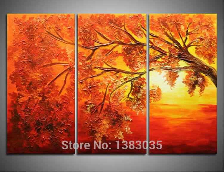 Pintados à mão do sol paisagem árvore lona do óleo pintura abstrata moderna 3 painel Wall Art Home decoração definir quadros(China (Mainland))