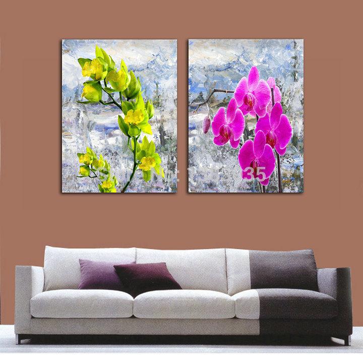 Flores pintados à mão acrílico pintura 2 painel Canvas Wall Art Modern Abstract Home decoração grupo de fotos(China (Mainland))