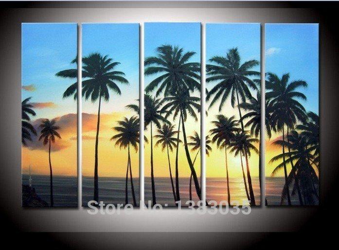 Pintados à mão palmeiras praia do sol pintura 5 peça moderna abstrata da lona óleo marinhas arte da parede Pictures decoração conjuntos(China (Mainland))