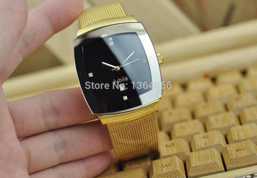 The new square quartz watches men's watch elegant luxury fashion men's watches black face four gold diamond waterproof watch(China (Mainland))