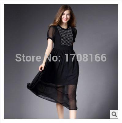 2015 new arrival hot fashion spring summer european elegent vintage women black pink short sleeve silk dress Pearls Diamonds(China (Mainland))