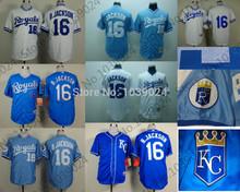 Nuovo 16 bo jackson jersey royals baseball retro 1980 b. jackson kansas city royals jersey 1989 bianco azzurro top seller  (China (Mainland))