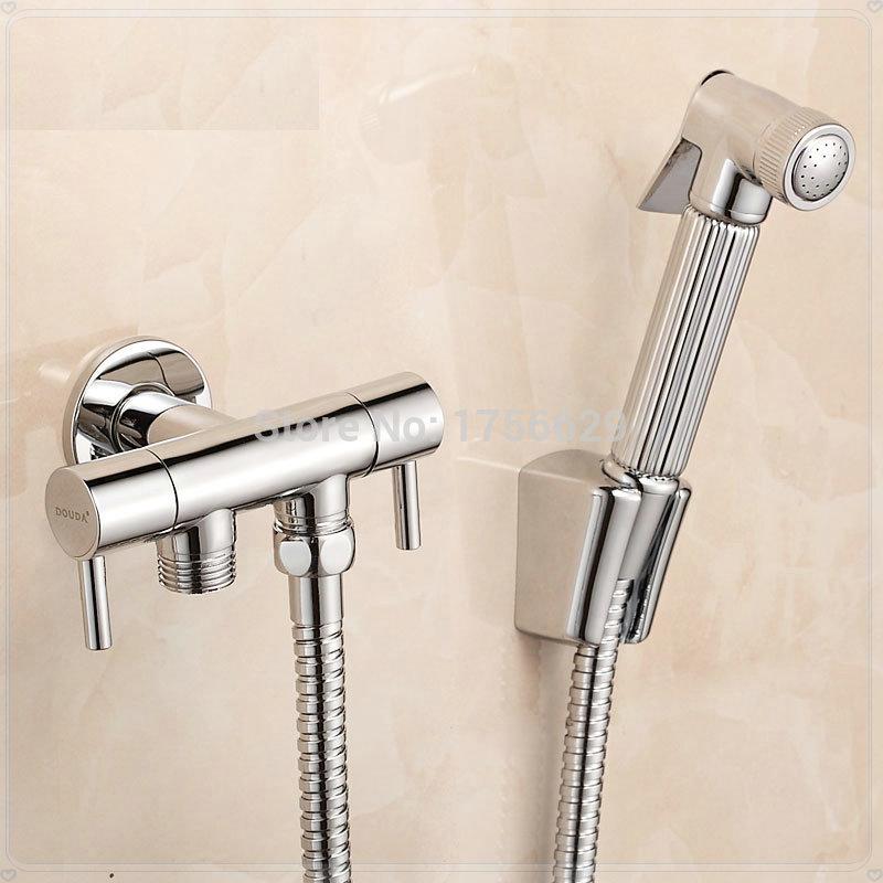 Sanitary ware copper bidet faucets toilet dual usage spray gun set bathroom(China (Mainland))