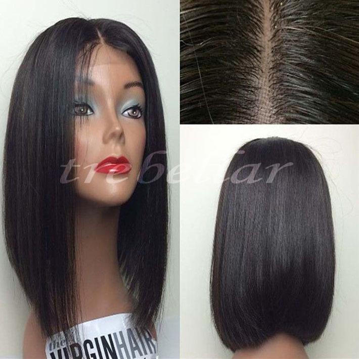 Kinky Straight Full Lace Bob Wig 100% Virgin Brazilian Kinky Straight Lace Front Bob Wig With Baby Hair For Black Women(China (Mainland))