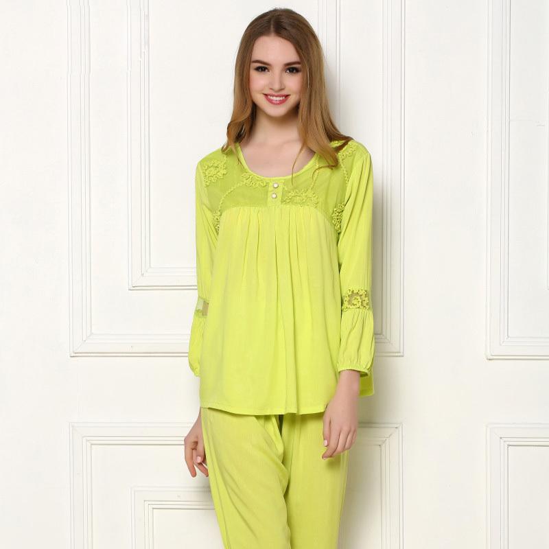 Spring long-sleeved woven cotton pajamas Summer cotton slim simple and natural woman tracksuit pajama sets female sleepwear N829(China (Mainland))