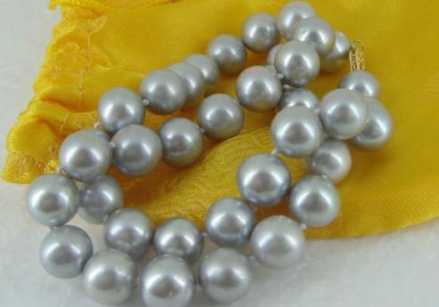 """Wholesale Wei Mei Pearl 18"""" 10-11MM SOUTH SEA SILVER GREY PEARL NECKLACE 14K(China (Mainland))"""